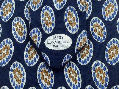 Designer Tie Lancel Orange-Blue Design & White Eggs on Blue Silk Men Necktie 47