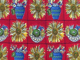 Floral TIE Sunflower on Red by Liberty Made in England Repeat Silk Necktie 4