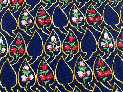 Designer Tie Nina Ricci Roses on Blue Silk Men NeckTie 49