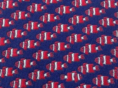 Animal Tie NewYorker Perpetual Red Fish on Navy Blue Silk Men Necktie 47