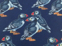 BEAUFORT Italian Silk Tie - Navy with Gray Birds Standing 40