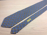 Designer Tie Yves Saint Laurent Gold-Blue Shuriken on Blue Silk Men Necktie 47