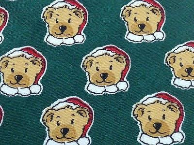 Animal Tie Havana Bear Santa on Pine Green Polyester Men Necktie 47