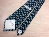 BARRY WELLS NECKWEAR Silk Tie - Black with Teal Cone Pattern 37