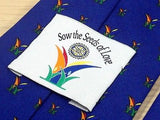 SOW THE SEEDS OF LOVE Polyester Tie - Royal Blue with Seedlings Pattern 37