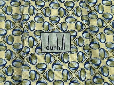 DUNHILL London Silk Tie - Italian Made -  Yellow with Blue Shell Pattern  36