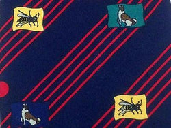 Animal Print TIE DOG & BEE STRIPE BLUE RED  Silk Men Necktie 26