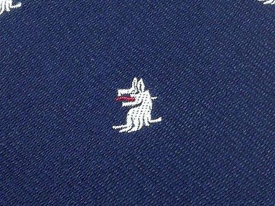 Animal Tie Shepherd and Woodward White Shepherd on Dark Blue Silk Men NeckTie 44
