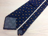 Italian Silk Tie - Navy with Yellow Ducks Pattern - Elegant 33