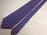 BEAUFORT Italian Silk Tie - Navy with Blue & Red Lovebirds 27
