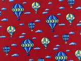 Novelty TIE Hot Air Balloon & Cloud on Red  Made in Italy Silk Necktie 5