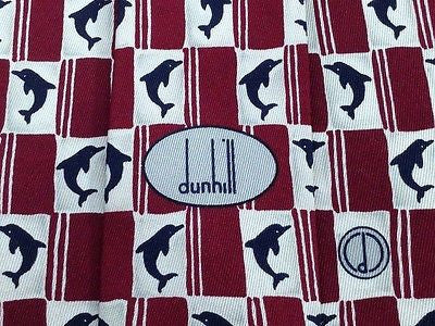 DUNHILL Silk Tie - Maroon and Blue Dolphin Pattern 41