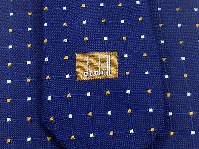 Designer Tie Dunhil White n Orange Dot on Blue Silk Men Necktie 45