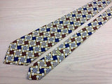 Designer Tie Celine Chains Blue & Brown Squares Silk Men NeckTie 46
