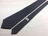 Longchamp Paris Tie Hand Made in Spain Geometric Chain Black Silk Men Necktie 28