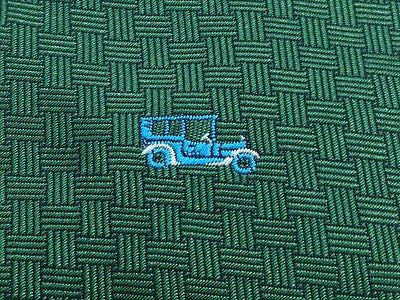 Novelty Tie Embroidered Vintage Blue Cars On Dark Green Silk Men Necktie 29