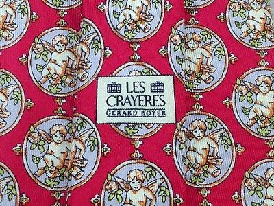 ANDRE CLAUDE CANOVA  French Silk Tie - Red with Cherub Pattern 37
