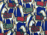 Animal Print TIE HORSE EQUESTRIAN ON BLUE REPEAT  Silk Men Necktie 26