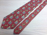 DUNHILL English Silk Tie - Nutmeg with Gold and Gray Tropical Fruit Pattern 33