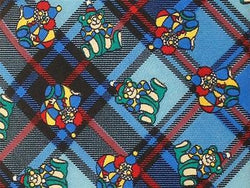 Clown TIE Teddy Bear on Blue Plaid Animal Novelty Theme Repeat Silk Necktie 3