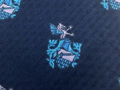 Designer Tie Bevilacua Warrior Logo on Dark Blue Silk Men NeckTie 46