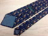 Animal Tie Beaufort Flying Ducks & Bugle on Navy Blue Silk Men Necktie 32