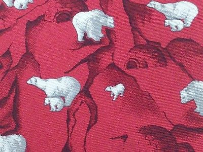 Animal Tie Andrea Silardi Polar Bears & Cubs on Red Igloo Silk Men Necktie 48