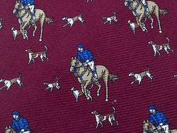 SCALA Silk Tie - Dark Red with Equestrian Pattern 33