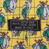 Elephant Couple Lover Yellow Fun Novelty Theme Italy 100% Silk men necktie