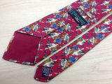 Novelty Tie Beaufort Sparrow Pair & Flower on Red Silk Men Necktie 45
