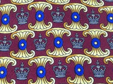 Desiner Tie G.Binda Crown Pattern on Burgundy Silk Men NeckTie 30