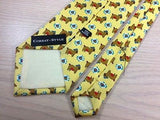 CORBAT-STYLE Silk Tie - Yellow with Brown Pig w Ball Cap Design 27