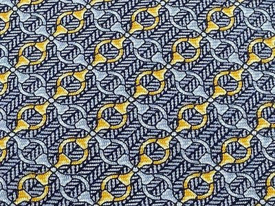 Designer Tie Lancel Paris Golden n Black Pattern on Ash Silk Men Necktie 45
