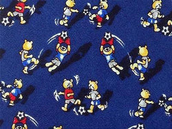 Soccer TIE Teddy Bear on Blue Theme Repeat Silk Necktie 3