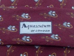 Designer Tie Aquascutum Flowers on Burgund Silk Men NeckTie 49