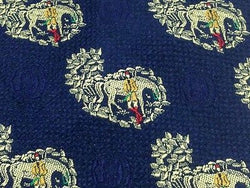 Novelty Tie Christian Dior Horse & Rider Design on Navy Blue Silk Men Necktie 47