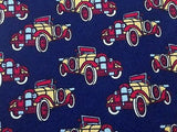 BRUNOVIOLA Italian Silk Tie - Navy with Antique Car Design     34