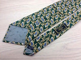 Novelty Tie Fendi Hand Fan Design on Peacock Blue Silk Men Necktie 32