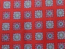 Geometric TIE Floral Square Dot on Red  Silk Men Necktie 23