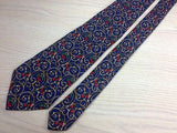 DAK London Silk Tie - Royal Blue with Gold and Red Chery Design 36