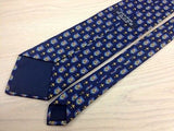 Designer Tie 100% Seidi Cross Sword Badge on Blue Silk Men NeckTie 44