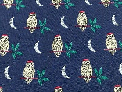 Animal Tie Owls and Moon On Dark Blue Silk Men Necktie 29