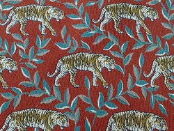 RENATO SARTI Italian Silk Tie - Rust with Jungle Cat Pattern   34