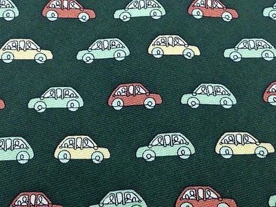 Novelty Tie Patrizia Lupo Group Of Cars On Dark Green Silk Men Necktie 31