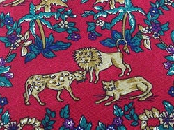 Animal Tie Beaufort Lion & Leopard in Bushes on Dark Pink Silk Men NeckTie 49