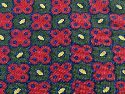 Designer Tie Yves Saint Laurent Red-Green Pattern With Dot Silk Men Necktie 32