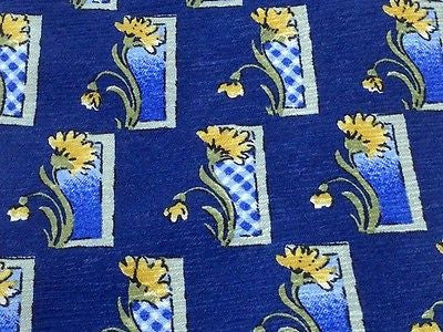Designer Tie Courreges Flower Plant at Window on Blue Silk Men NeckTie 49