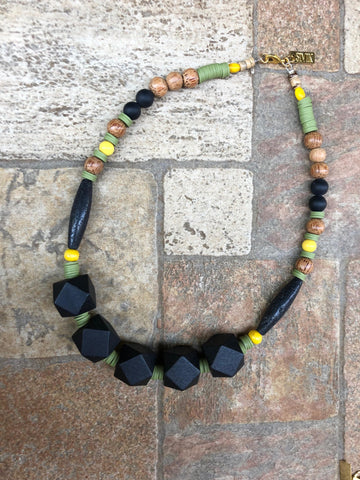 wood and Laba geometric Necklace