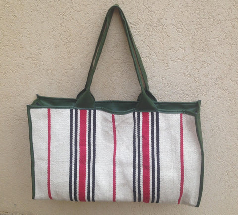 Large tote -stripes green