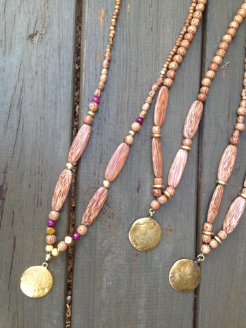 Long wooden necklace